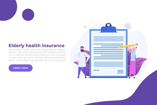 Ouderen ziektekostenverzekering concept. vectorillustratie in vlakke stijl.