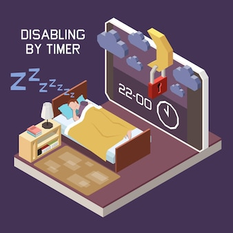 Ouderlijk digitaal toezicht dat de isometrische compositie van de schermtijd beperkt met uitgeschakeld door timer-smartphone