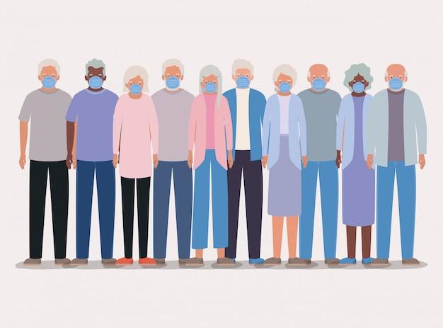 Ouderlingen mannen en vrouwen met maskerontwerp