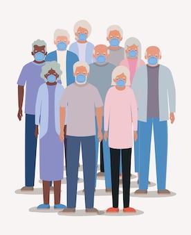 Ouderlingen mannen en vrouwen met maskers ontwerp van medische zorg hygiëne gezondheid noodhulp examen kliniek en patiënt thema illustratie