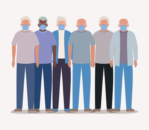 Ouderlingen mannen met maskers ontwerp van medische zorg hygiëne gezondheid noodhulp examen kliniek en patiënt thema illustratie
