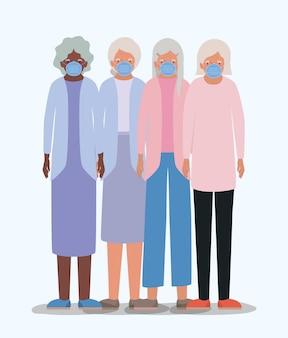 Ouderlingen vrouwen met maskers ontwerp van medische zorg hygiëne gezondheid noodhulp examen kliniek en patiënt thema illustratie
