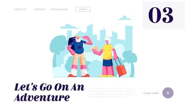 Ouderpaarreis, senior toeristen, ouderen reizende mensen met fotocamera en bagage zoeken de juiste weg op de bestemmingspagina van de website in het buitenland, webpagina.