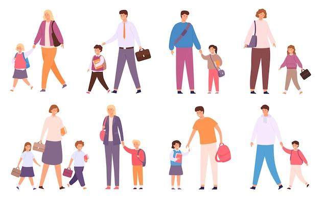 Ouders brengen kinderen naar school. menigte van gelukkige studenten loopt met familie. moeder, vader en kinderen met tassen gaan terug naar school vector set. volwassenen hand in hand met schooljongens en schoolmeisjes
