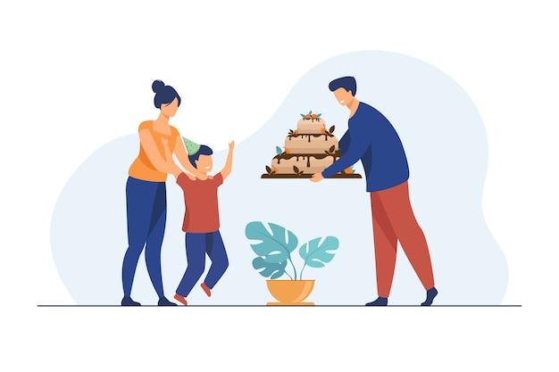 Ouders die verjaardagstaart geven aan zoon. familie, kind, zoete platte vectorillustratie. viering en vakantie