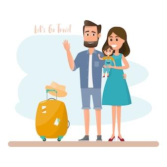 Ouders en dochter met tas voor een vakantie