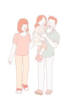 Ouders en hun kinderen wandelen in lijnstijl