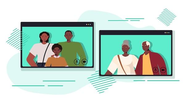 Ouders en kind hebben virtuele ontmoeting met grootouders tijdens videogesprek familiechat communicatieconcept mensen chatten in webbrowservensters