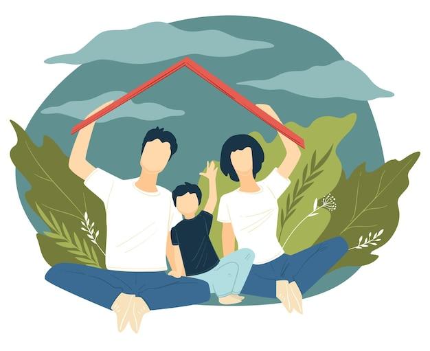 Ouders en kind verstopt onder dak. pappa en mamma met zoon die bescherming tegen regen houden. concept van huis en veiligheid, verzekering en stabiliteit. familie met kind buiten, vector in vlakke stijl