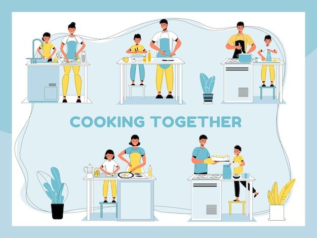 Ouders en kinderen die soep koken