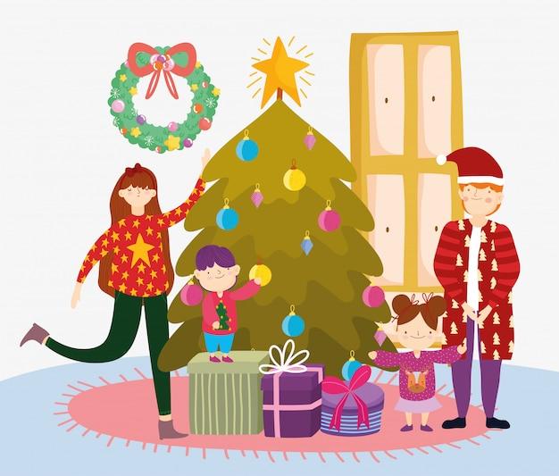 Ouders en kinderen met boom geschenken prettige kerstdagen, gelukkig nieuwjaar