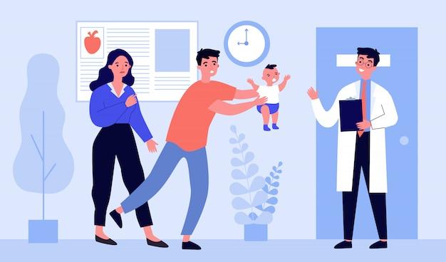 Ouders gaan met hun kind naar de dokter