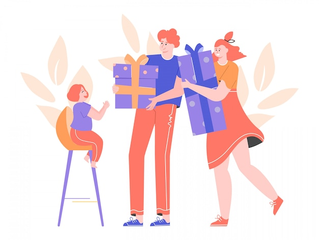 Ouders geven cadeautjes aan hun dochtertje. grote lichte dozen met strikken. verwend gelukkig meisje. jonge mooie familie. vlakke afbeelding.