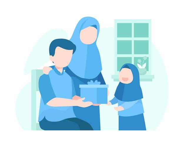 Ouders geven geschenken aan hun dochters