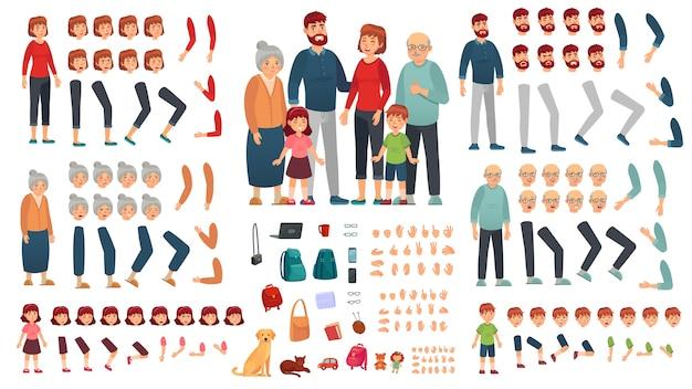 Ouders, kinderen en grootouders karakters constructeur