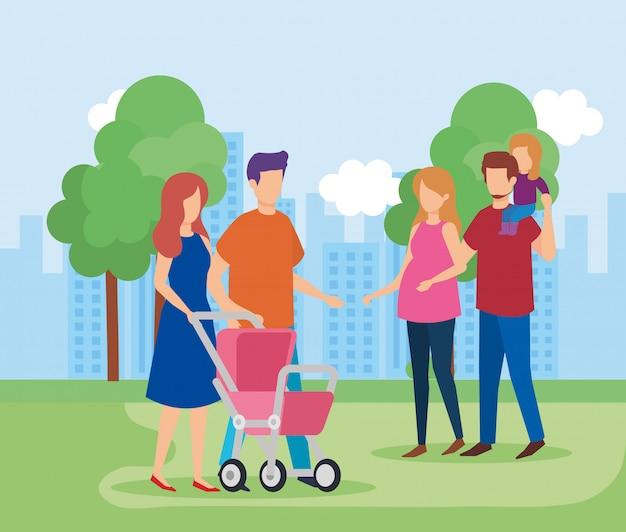 Ouders koppelen aan dochter in het park