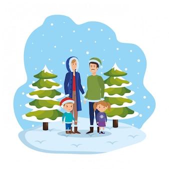 Ouders koppelen met kinderen en winterkleren in snowscape