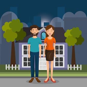 Ouders koppelen personages in de open lucht