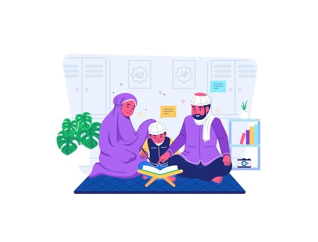 Ouders leren kinderen om de koran te lezen tijdens covid19 pandemie situatie platte cartoonstijl