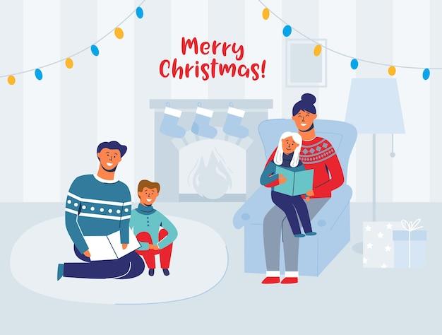 Ouders lezen boeken met kinderen op kerstavond thuis. wintervakantie gelukkige karakters in de buurt van open haard. vader gelezen boek voor zoon.