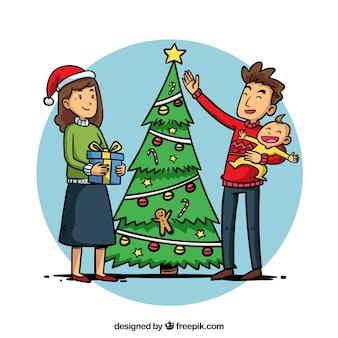 Ouders met hun kind op kerstmis