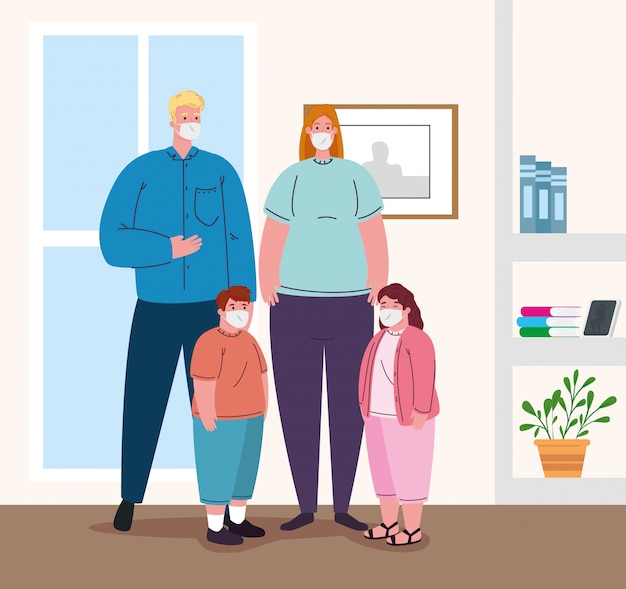 Ouders met kinderen die een medisch masker dragen om coronavirus te voorkomen, in huis