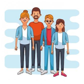 Ouders met tiener daugther en zoon vector illustratie grafisch ontwerp