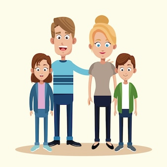 Ouders met zoon dochter samen