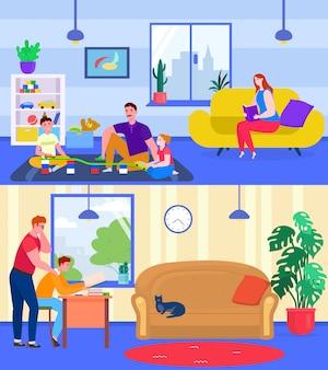Ouders spelen en studeren met kinderen, illustratie. familie tijd samen doorbrengen thuis, vader veel plezier met kinderen