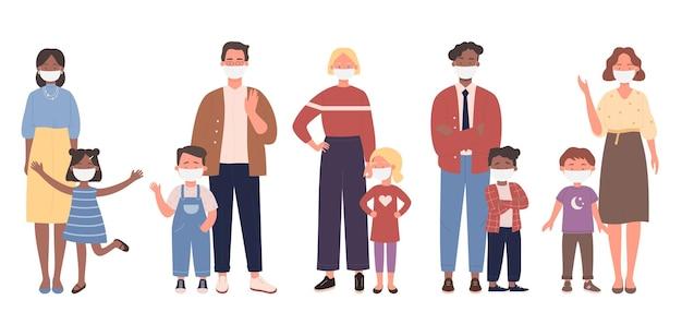 Ouders staan samen met kinderen en dragen de illustratie van het gezichtsmasker