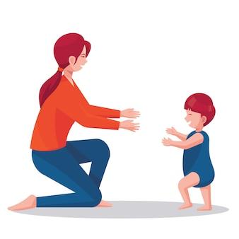Ouderschap concept met illustratie van moeder met haar baby die leren lopen