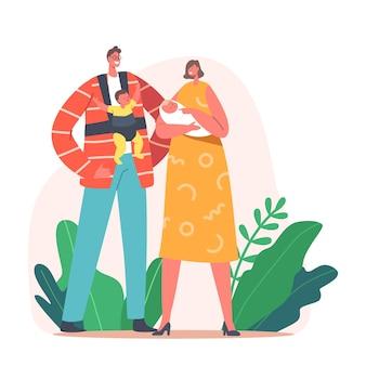 Ouderschap, liefdevolle moeder en vader concept. moeder en vader met kleine kinderen op handen en heupdrager. personages uit jonge gezinnen