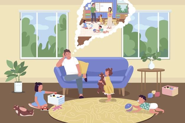 Ouderschap tijdens isolatie flat. quarantaine isolatie.