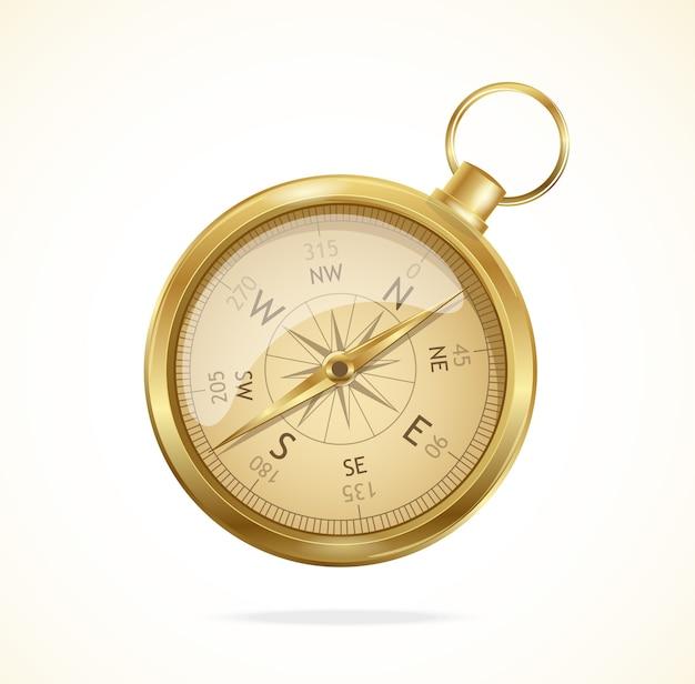 Ouderwets glanzend metalen kompas met windroos.