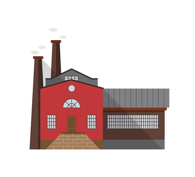 Ouderwets productiegebouw met toegangsdeur en pijpen die gas uitstoten op een witte achtergrond. gevel van fabriek van industriële architectuur. cartoon vectorillustratie in vlakke stijl