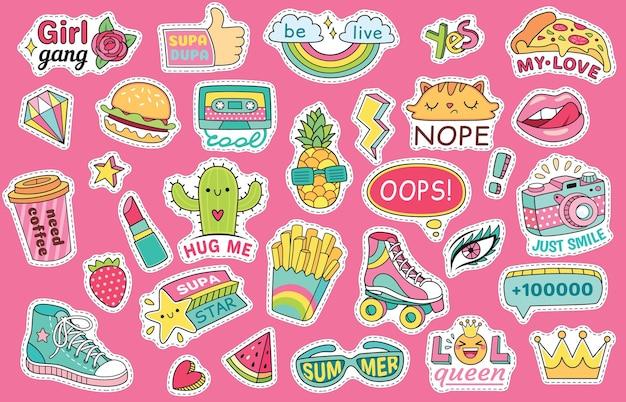 Ouderwetse meisjesstickers met regenboog en hamburger, sneaker en bril, lippenstift en watermeloen