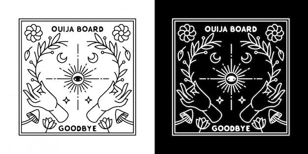 Ouija board hand flower monoline design
