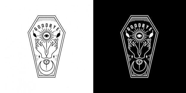 Ouija bord met hand monoline badge design