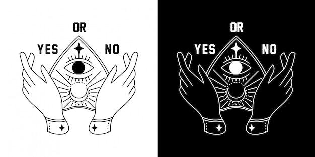 Ouija bord met hand monoline ontwerp