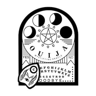 Ouija bord monoline badge ontwerp