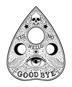 Ouija planchette board grafische illustratie