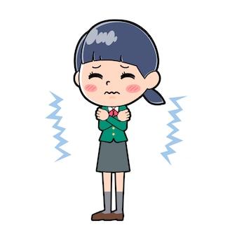 Out line schoolmeisje green_cold