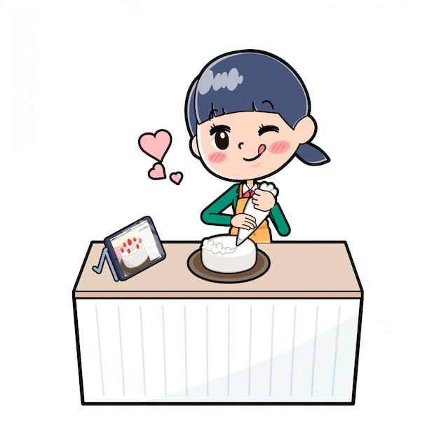 Out line schoolmeisje green_cook-deco
