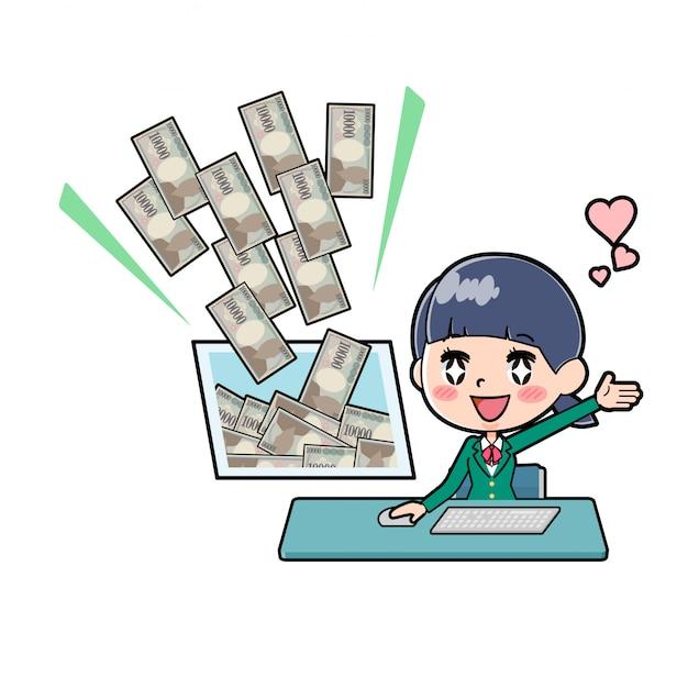 Out line schoolmeisje green_money inkomen-pc