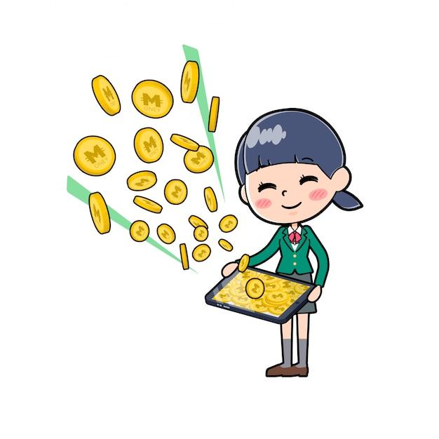 Out line schoolmeisje green_money inkomen-tablet
