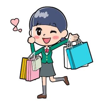 Out line schoolmeisje green_shopping