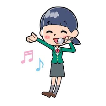Out line schoolmeisje green_singing