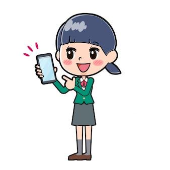 Out line schoolmeisje green_smartphone-point