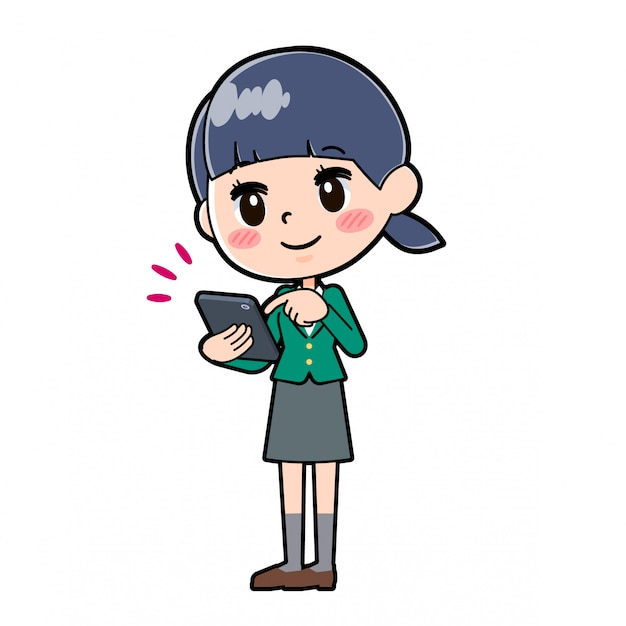 Out line schoolmeisje green_smartphone-touch