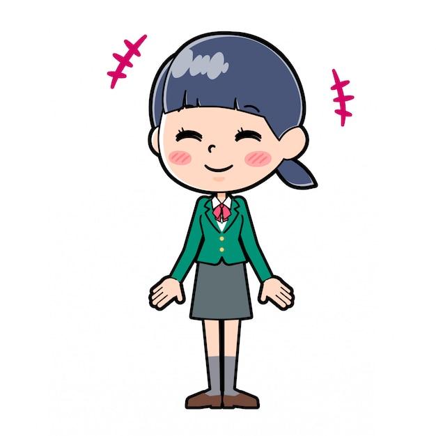 Out line schoolmeisje green_smile